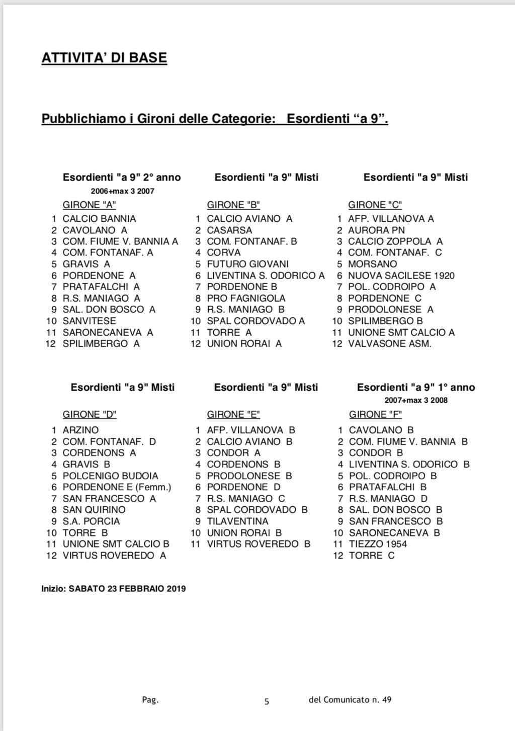 Calendario Pordenone Calcio.Calendario Eventi Asd Calcio Bannia